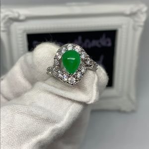Jade CZ plated ring